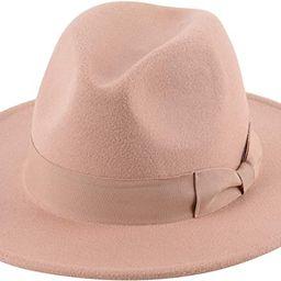 Lanzom Womens Classic Wide Brim Floppy Panama Hat Belt Buckle Wool Fedora Hat | Amazon (US)