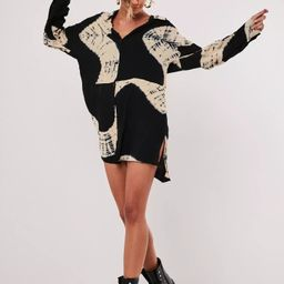 Black Tie Dye Oversized Dip Back Shirt Dress | Missguided (US & CA)