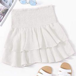 Smocked High-Rise Flounce Mini Skirt | SHEIN