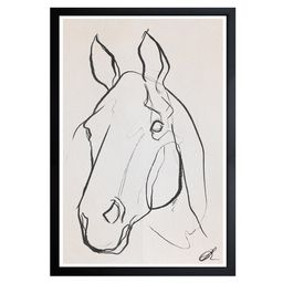 Wynwood Studio 'Stallion Sketch III' Animals Framed Wall Art Print - Black, White | Walmart (US)