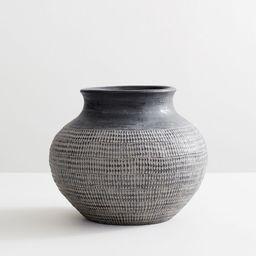 Fraiser Textured White Ceramic Vase - Small | Pottery Barn (US)