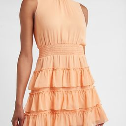 Smocked Tiered Mock Neck Dress | Express