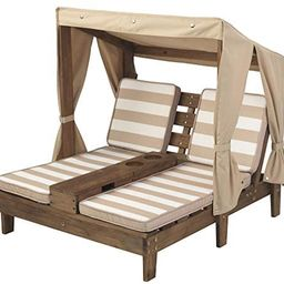 KidKraft Double Chaise Lounge with Cup Holders, Kids Outdoor Furniture, Espresso with Oatmeal and... | Amazon (US)