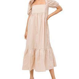 Square Neck Puff Sleeve Midi Dress | Bloomingdale's (US)