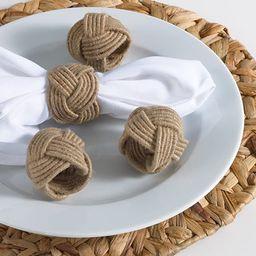 Classic Braided Jute Burlap Napkin Rings, Natural Color, Set of 4 | Amazon (US)