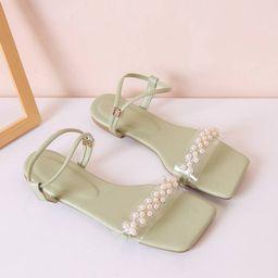 New             Faux Pearl Decor Strappy Sandals | SHEIN