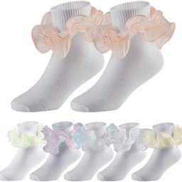 6 Pairs Double Ruffle Socks for Girls Cute Big Lace Dress Princess Socks Pageant Ankle Style   Amazon (US)