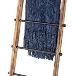 MyGift 5-ft Urban Rustic Wall-Leaning Burnt Wood & Metal Quilt Blanket and Towel Storage Ladder S... | Amazon (US)