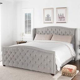 Jennifer Taylor Home Marcella Tufted Wingback King Bed, Silver Grey   Amazon (US)