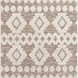 Well Woven Cenar Beige Flat-Weave Hi-Low Pile Diamond Medallion Stripes Moroccan Tribal Area Rug ...   Amazon (US)