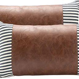BOYSUM Set of 2 Farmhouse Decorative Throw Pillows Cover for Faux Leather Striped Outdoor Pillow ...   Amazon (US)