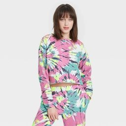 Women's Tie-Dye Cropped Fleece Lounge Sweatshirt - Colsie™ Pink | Target