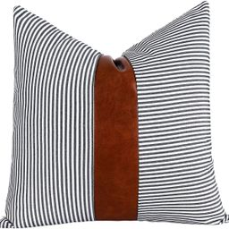 Tiaronics Decorative Throw Pillow Case Faux Stripe Faux Leather Cushion Cover for Sofa Couch Bed ...   Amazon (US)