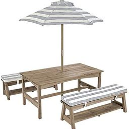KidKraft Outdoor Table & Bench Set with Cushions and Umbrella Gray & White Stripes | Amazon (US)