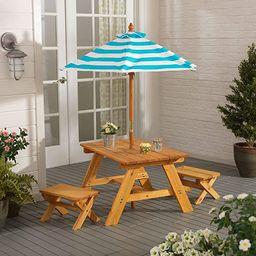 KidKraft KidKraft Wooden Outdoor Table & Bench Set with Striped Umbrella, Children's Furniture ... | Amazon (US)
