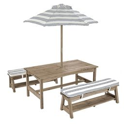 Outdoor Table & Bench w/ Cushions & Umbrella - Gray & White | Overstock