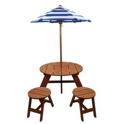 """Homeware Brown Wood Kids Round Umbrella Table and Stools 3-piece Set - 33""""Lx27""""Wx54""""H 