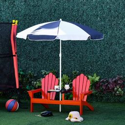 Outsunny Adirondack Kids Beach Chairs w/ Table Removeable Umbrella | Overstock