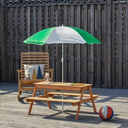 """Outsunny Kids Picnic Table w/ 2 Sandboxes Adjustable Umbrella Bench 36.5"""" L x 33.5"""" W x 19"""" H - 3... 