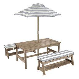 Gray & White Stripe Table & Bench Set | Zulily