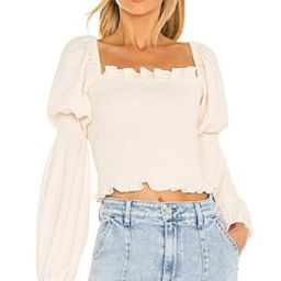 Line & Dot Veronica Smocked Blouse in Creme from Revolve.com | Revolve Clothing (Global)