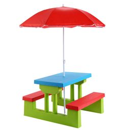 Boyel Living Kids Folding Picnic Set PP Outdoor Dining Table Set with Folding Table, Bench and Umbre | The Home Depot