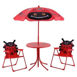 Boyel Living Kids Folding Picnic Set Steel Outdoor Dining Table Set with Cute Beetle Folding Table,  | The Home Depot