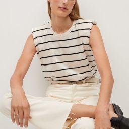 Organic cotton t-shirt with shoulder pads   MANGO (US)