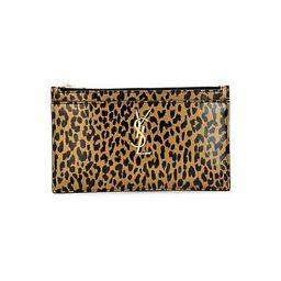 Saint Laurent   Monogram Leopard-Print Leather Pouch | Saks Fifth Avenue