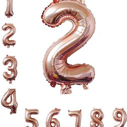 40 Inch Rose Gold Jumbo 2 Number Balloons Huge Giant Balloons Foil Mylar Number Balloons For Birt... | Amazon (US)