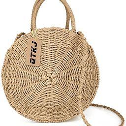 Women Straw Summer Beach Bag Handwoven Round Rattan Bag Cross Body Bag Shoulder Messenger Satchel | Amazon (US)