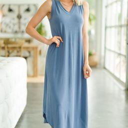 New Moves Denim Blue Midi Dress   The Mint Julep Boutique