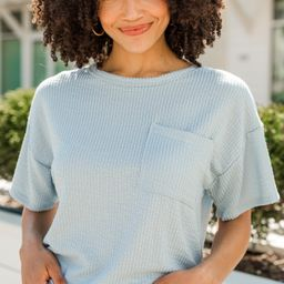 Take It Easy Blue Pocket Top   The Mint Julep Boutique