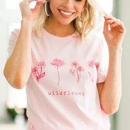 She's A Wildflower Light Pink Graphic Tee   The Mint Julep Boutique