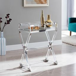 Southern Enterprises Soller Polished Nickel Acrylic Serving Tray Table-HD599663 - The Home Depot   The Home Depot