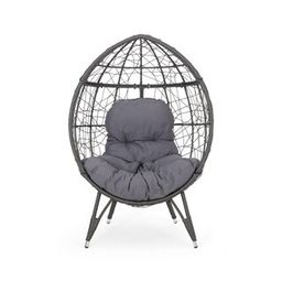 Noble House Gavilan Grey Fabric Removable Cushions Egg Chair-70326 - The Home Depot   The Home Depot