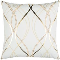 Donny Osmond Home White and Gold Geometric Polyester 20 in. x 20 in. Throw Pillow-DOHT12854IV0020...   The Home Depot