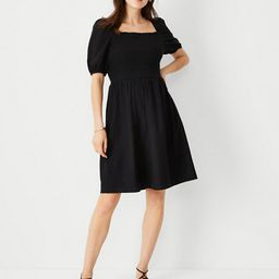 Linen Blend Puff Sleeve Smocked Flare Dress   Ann Taylor (US)