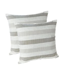 Liza Taupe Striped 18 in. x 18 in. Throw Pillow (Set of 2)-218434-24A - The Home Depot   The Home Depot