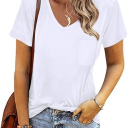Sousuoty Tshirts for Womens Short Sleeve Casual V Neck Summer Tops | Amazon (US)