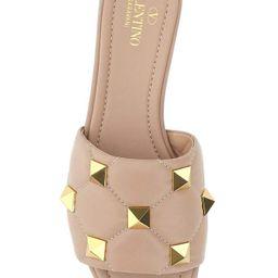 Valentino Garavani Roman Stud Flat Slide Sandals | Cettire Global