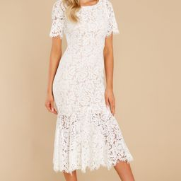 I Can't Resist White Lace Midi Dress   Red Dress
