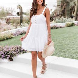 Divine Memory Button White Mini Dress | The Pink Lily Boutique