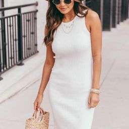 My Final Call White Midi Ribbed Tank Dress | The Pink Lily Boutique