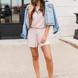 You Can Count On Me Blush Striped Romper | The Pink Lily Boutique