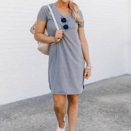 Enjoy The Days Together Heather Grey  T-Shirt Dress | The Pink Lily Boutique
