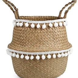 BlueMake Small Ball Macrame Woven Seagrass Belly Basket for Storage, Decoration, Laundry, Picnic,... | Amazon (US)