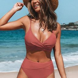 Marsala Twist High Waisted Bikini   Cupshe