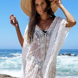 White Lace Crochet Cover Up   Cupshe