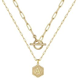 M MOOHAM Gold Initial Necklaces for Women, 14K Gold Plated Layered Initial Necklace Hexagon Penda... | Amazon (US)